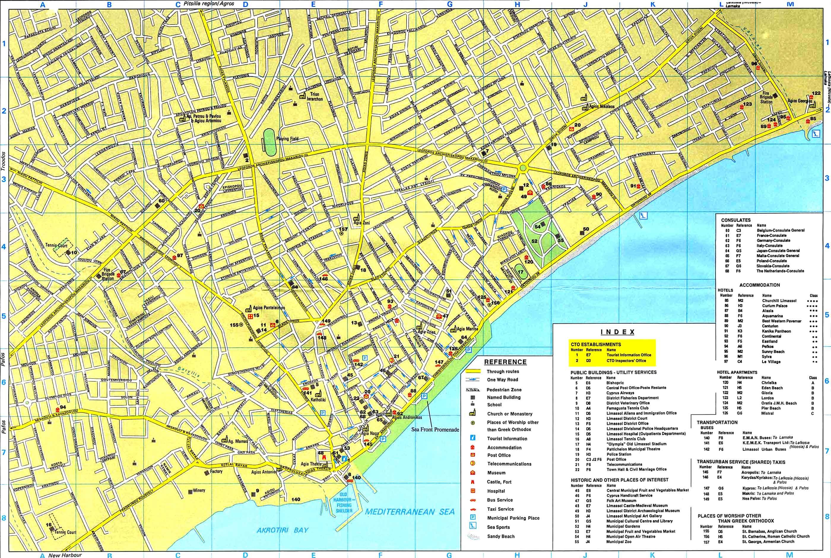 Limassol Maps Limassol area map and Limassol city map