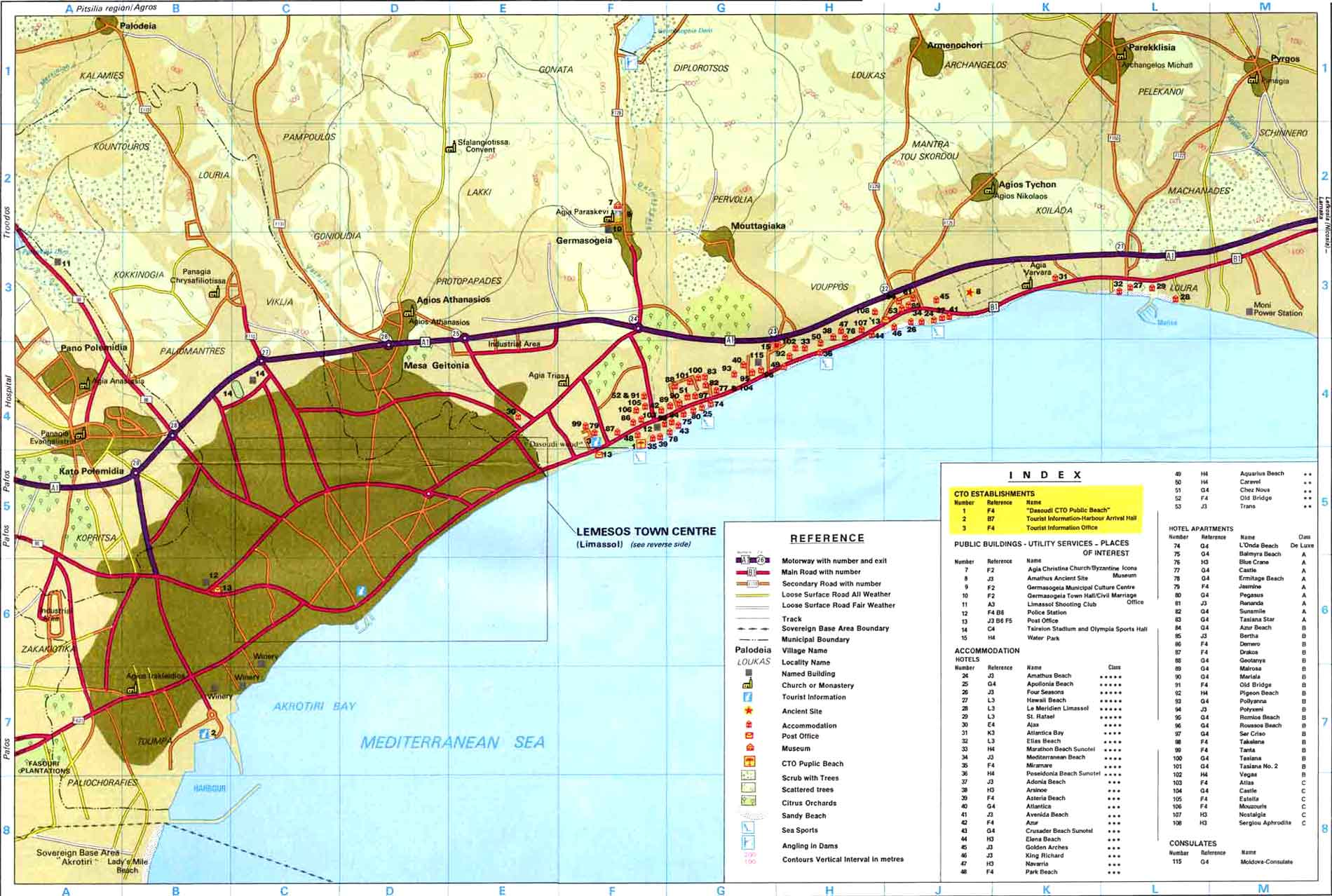 Limassol Maps Limassol area map and Limassol city map