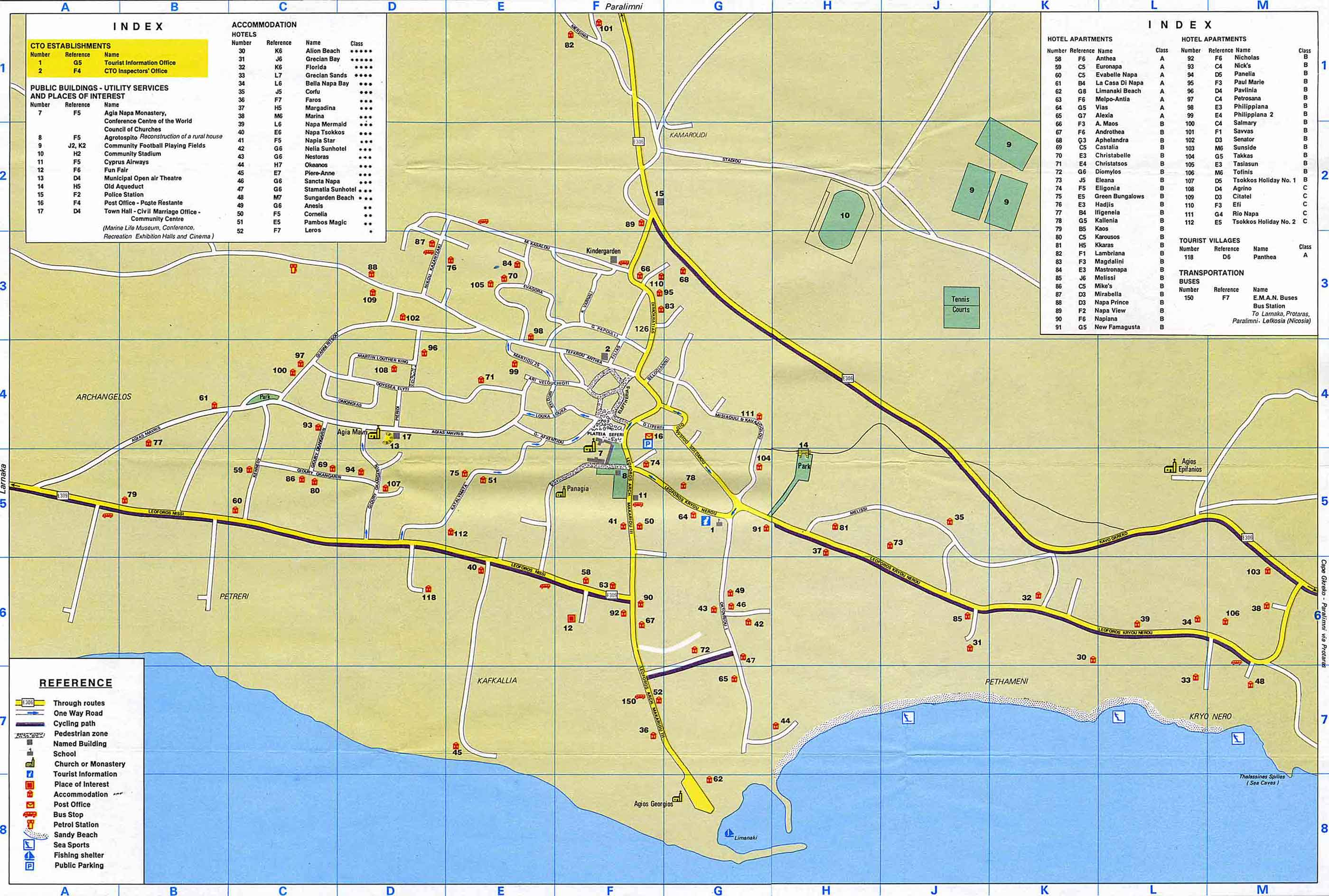 Famagusta Maps Ayia Napa Map and Protaras Map