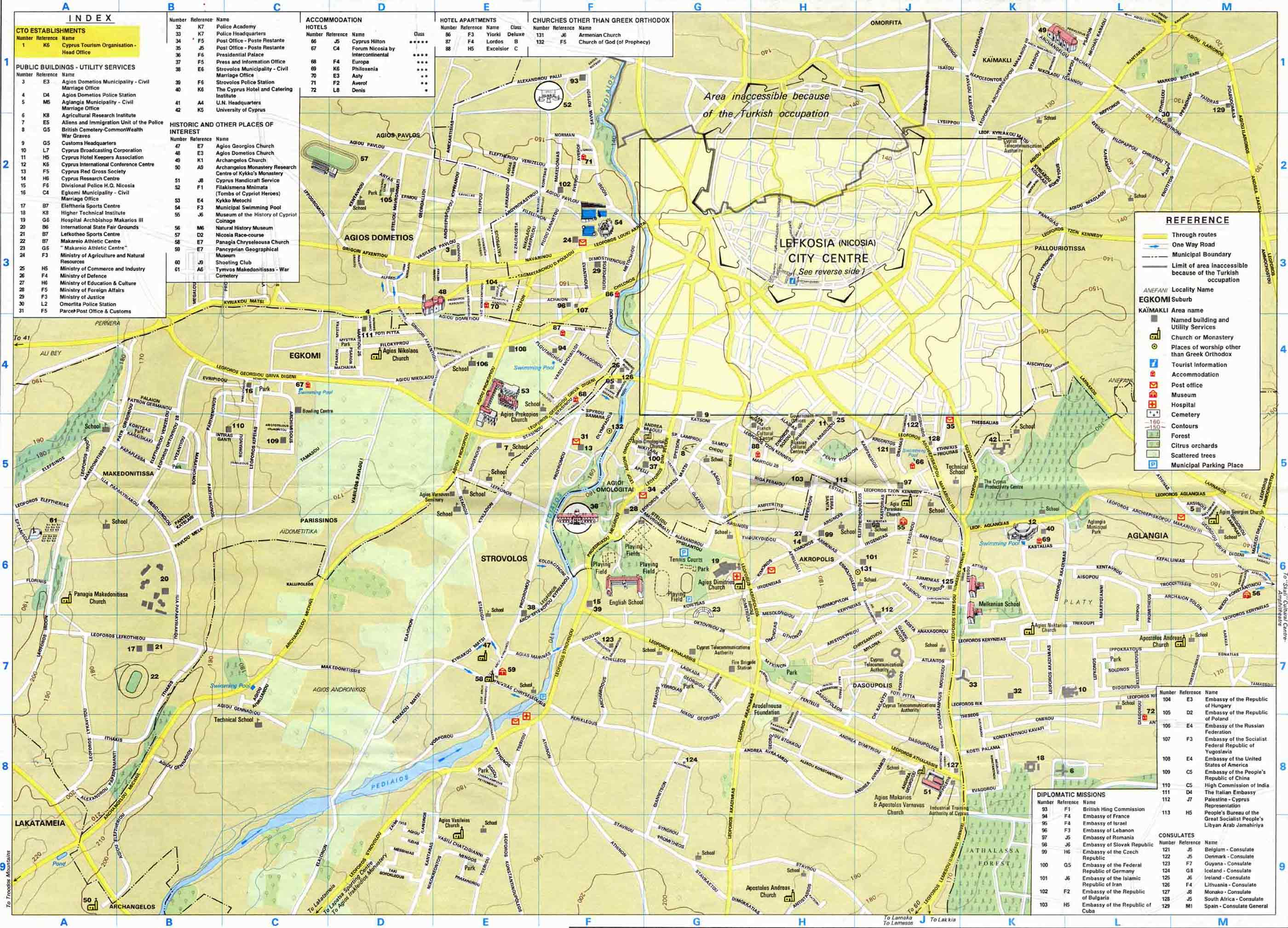 Nicosia Maps. Nicosia area map and Nicosia city map.