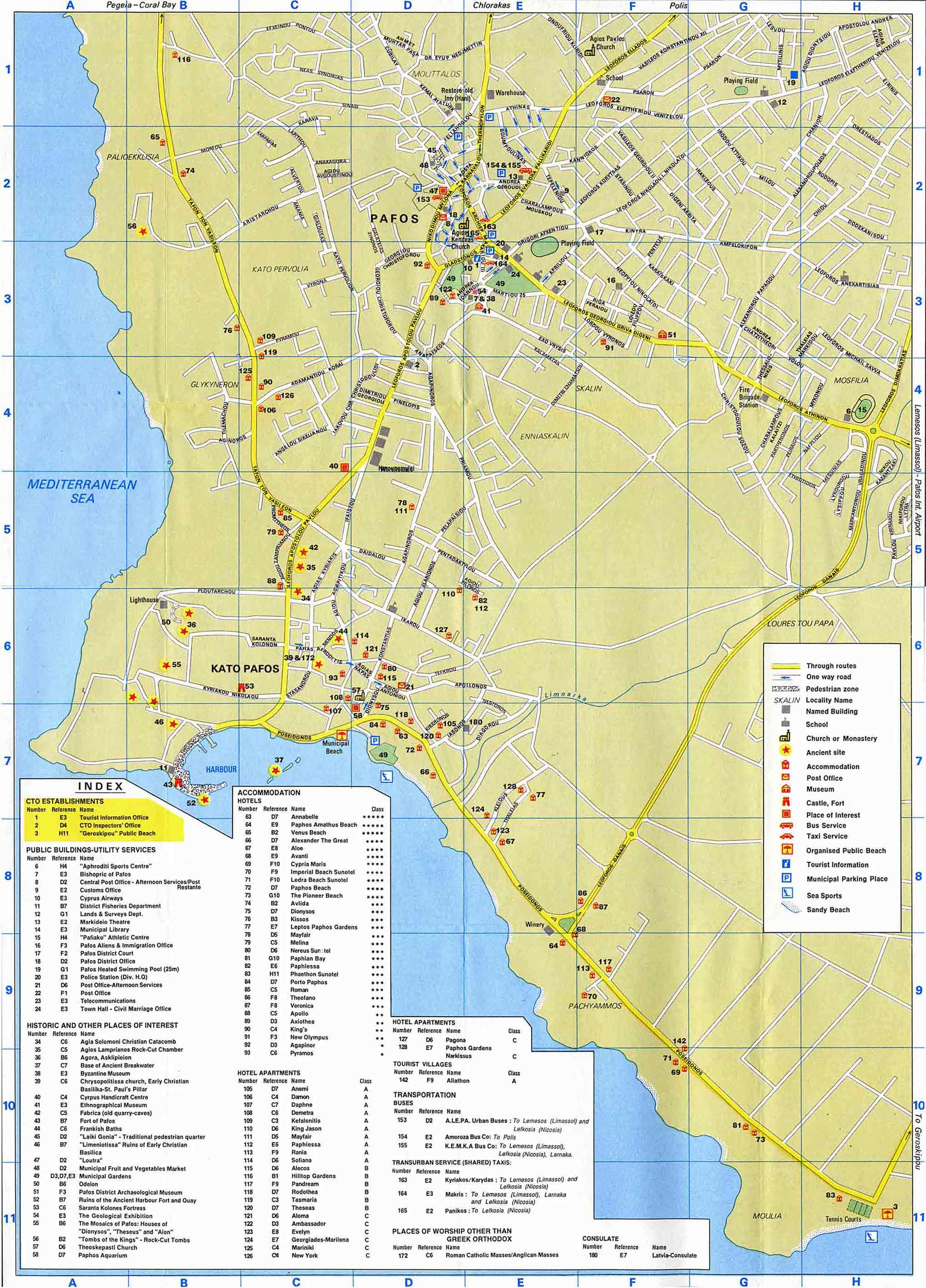 Paphos Maps Paphos area map and Paphos city map