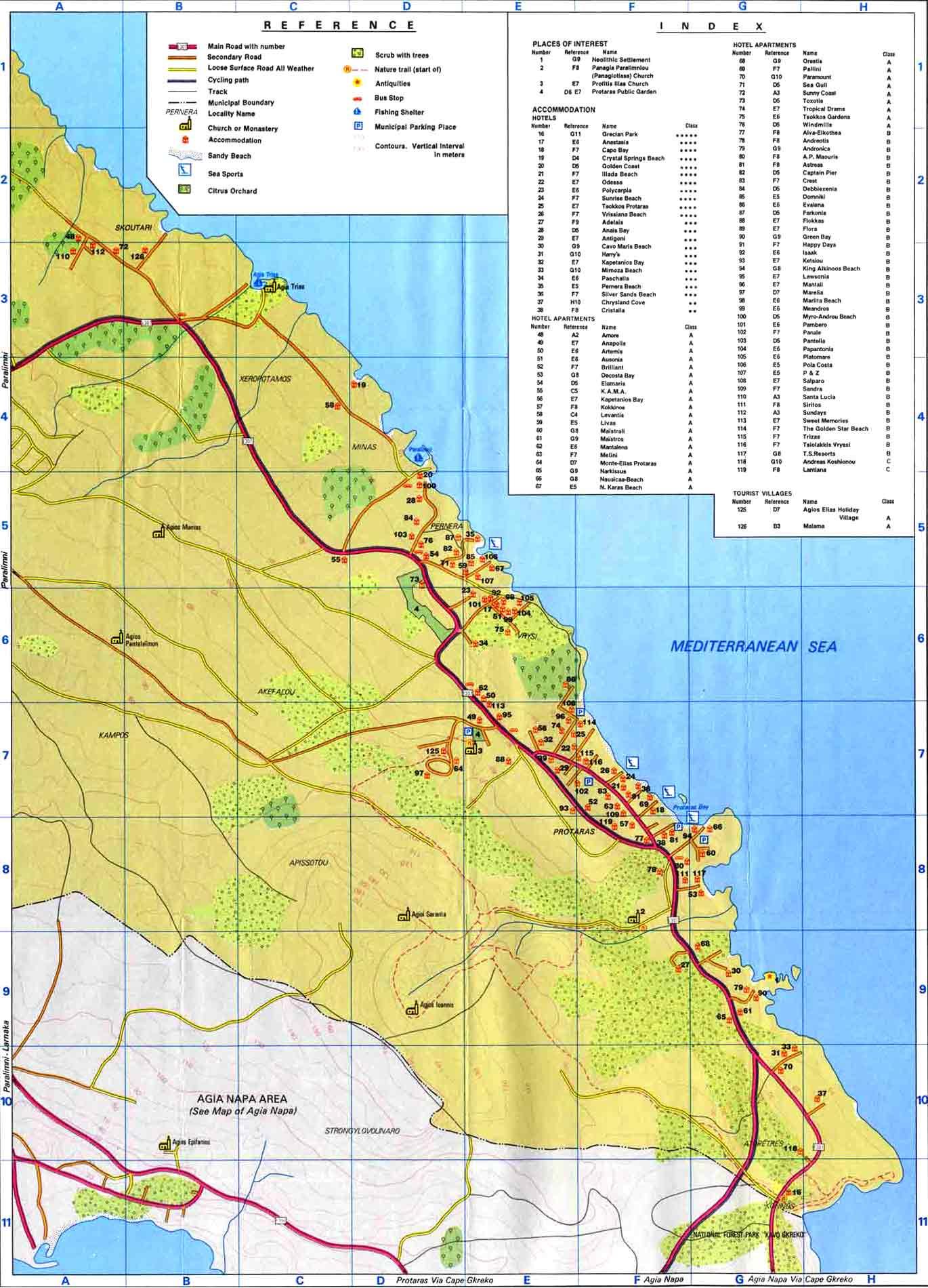 Famagusta Maps Ayia Napa Map and Protaras Map